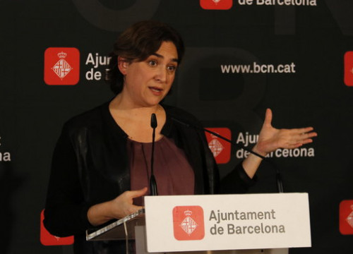 The Mayor of Barcelona, Ada Colau, at a press conference on the 16th of November 2016 (by ACN)