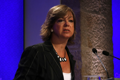 Catalan Minister for Public Administration and Housing, Meritxell Borràs, during a press conference (by ACN)