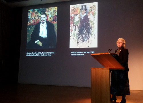 'Picasso's Portrait's' exhibition curator Elizabeth Cowling speaks at the presentation of the exposition on the 11th of April, 2016, at the National Portrait Gallery in London (by ACN)