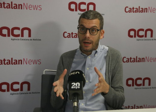 Criminology professor Marc Balcells speaking to Catalan News on October 15, 2019 (by Elisenda Rosanas)