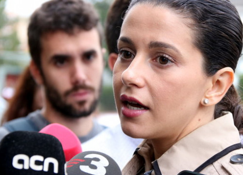 Cs leader Inés Arrimadas speaks to the press in Sabadell on October 18 2018 (by Norma Vidal)