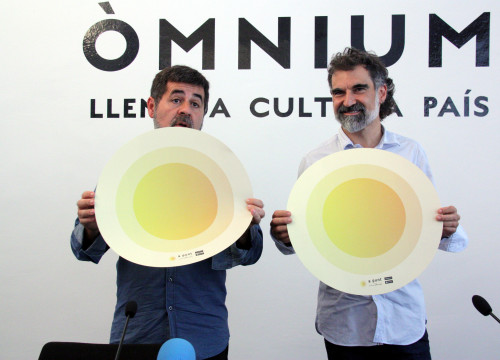 The President of the Catalan National Assembly, Jordi Sànchez, and that of Òmnium Cultural, Jordi Cuixart, representing the two main organisations behind the last massive pro-independence mobilisations on Catalonia's National Day (by ACN)