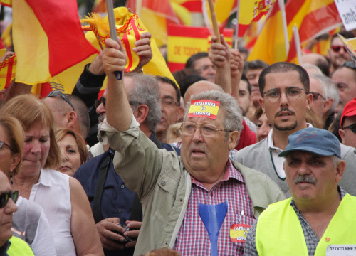 Demonstrators in Barcelona this morning, celebrating Spain's National Day