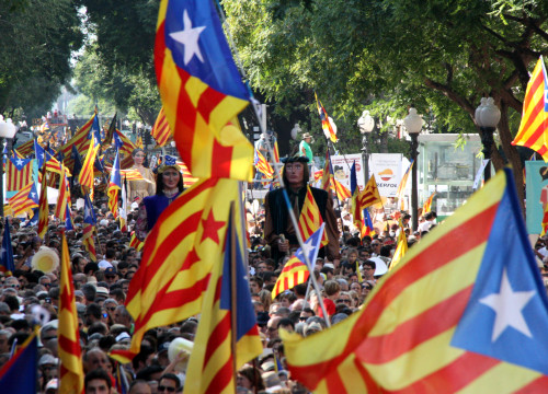 Pro-independence flags in Tarragona, during the rally held on Catalonia's National Day