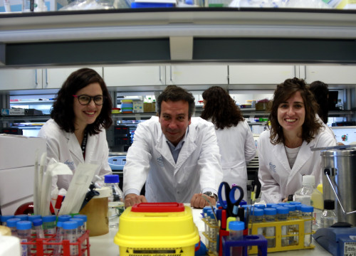 Doctor Joan Seoane, lead VHIO investigador, with fellow researchers Mónica Pascual-García and Ester Bonfill-Teixidor in their lab on June 7, 2019 (Laura Fíguls/ACN)