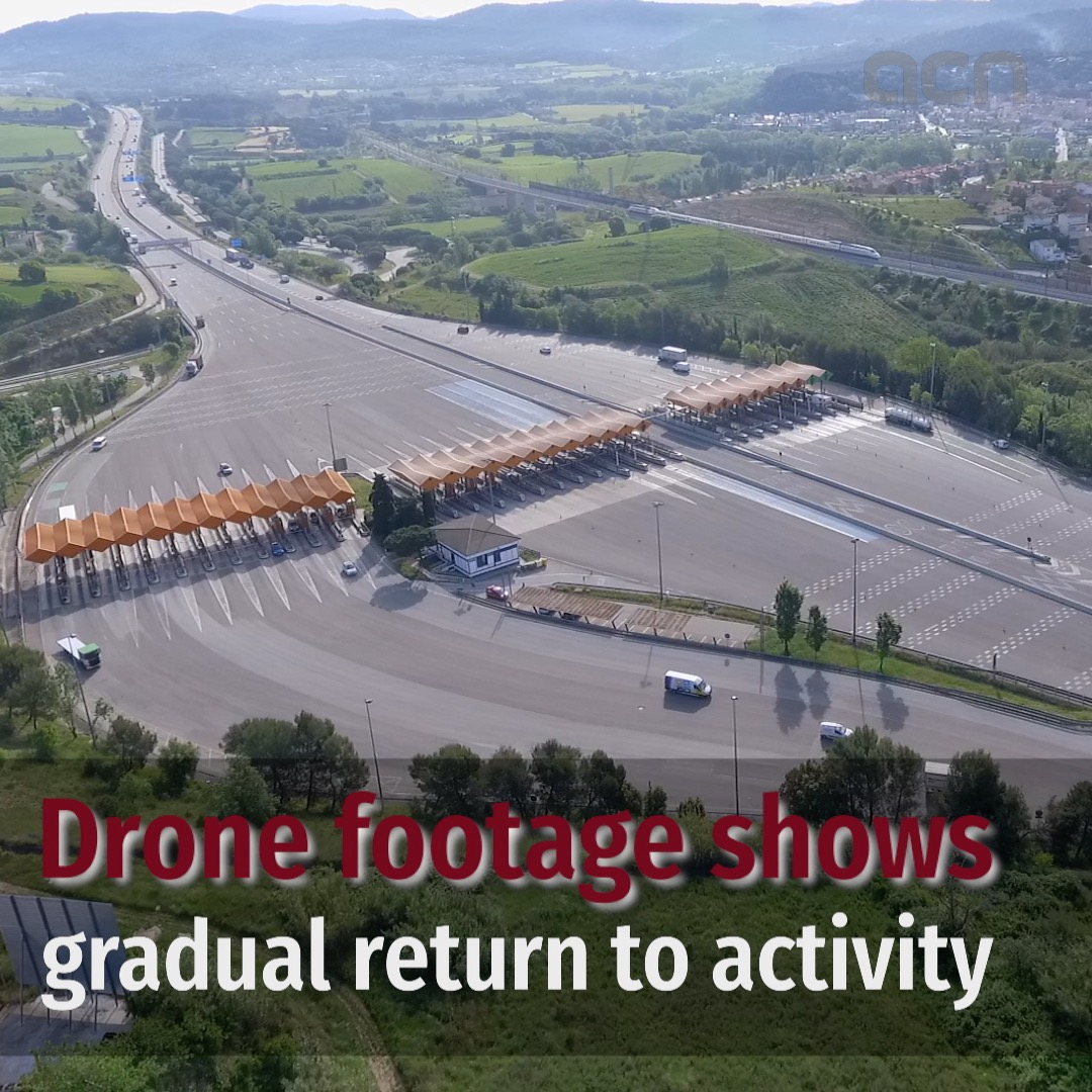 Drone footage shows gradual return to activity