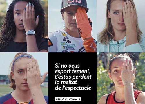 Promotional image of the campaign #ThoEstasPerdent, with some of the top Catalan sportswomen