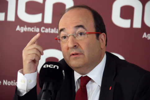 Catalan Socialist party PSC's candidate, Miquel Iceta's press conference at CNA headquarters