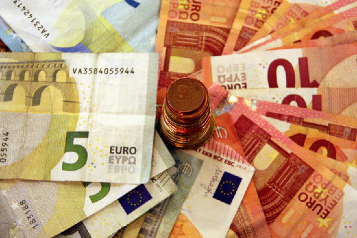 Euro bills and coins (by M. Loperena)