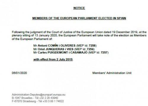 European Parliament notice on Puigdemont, Comín and Junqueras' MEP status