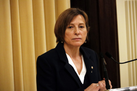 Parliament's President, Carme Forcadell, addressing the media just after testifying before the Court (by ACN)