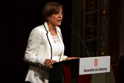 Parliament's President, Carme Forcadell, giving a speech this Thursday 8th of September in Reus (by ACN)