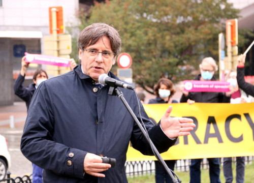 Former Catalan president Carles Puigdemont at an event in Brussels marking the third anniversary of the 2017 referendum (by Nazaret Romero)