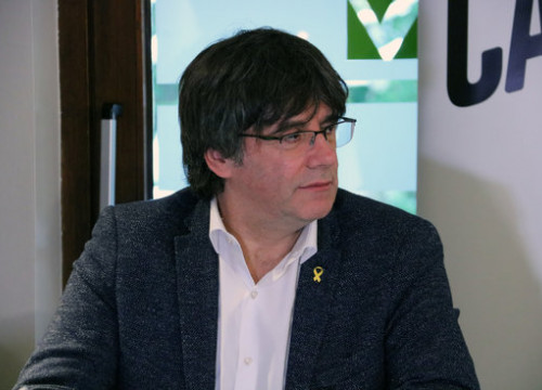 Former Catalan president Carles Puigdemont at an event on November 3, 2019 (by Natàlia Segura)