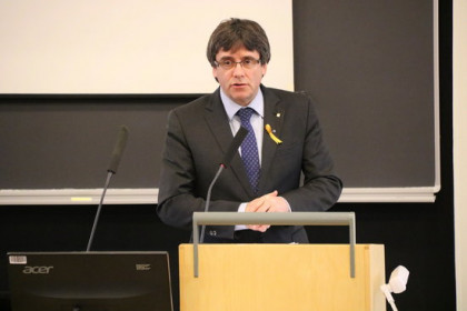 Former Catalan president Carles Puigdemont in Helsinki days before his arrest in Germany on March 25, 2018 (by Blanca Blay)