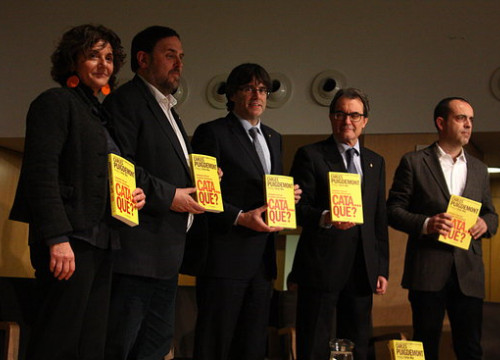Former vice president Oriol Junqueras and ex presidents Carles Puigdemont and Artur Mas in 2016 (by Patricia Mateos)
