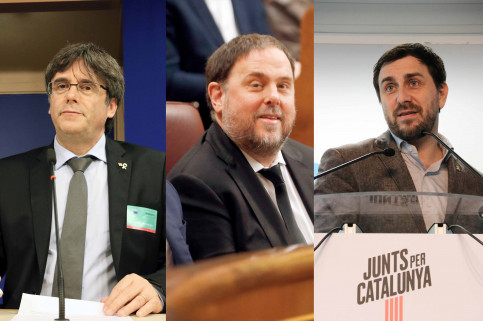 Carles Puigdemont, Oriol Junqueras, and Toni Comín (by ACN)