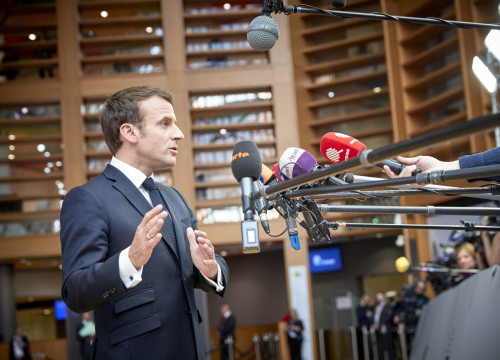 French president Emmanuel Macron speaks to the press in Brussels on May 28, 2019 (ACN/Blanca Blay)