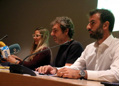 From left to right Giorgia Linardi (Sea Watch), Oscar Camps (Open Arms), Erasmo Palazzotto (Mediterranea) during their press conference at the Barcelona Maritime Museum on November 23 2018 (by Miquel Codolar)