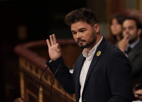 Gabriel Rufián at the congressional debate over Pedro Sánchez's presidency on July 23, 2017 (Juan Carlos Rojas/ACN)