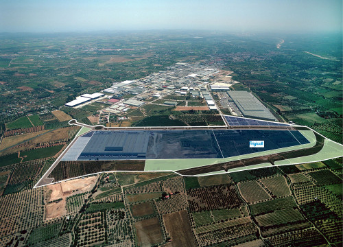 Aerial shot of Valls' industrial park 'Palau del Reig', 15 kilometres north of Tarragona (by ACN)