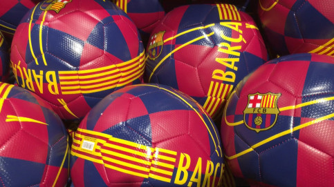FC Barcelona footballs in the club shop in Camp Nou. (Photo: Cillian Shields)