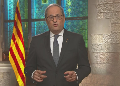 Catalan president Quim Torra during his speech for the 2020 National Day