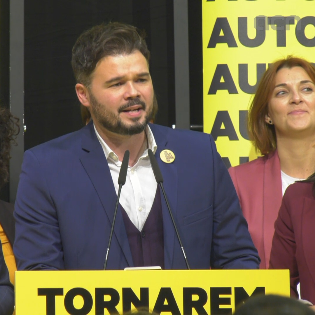 ERC's Rufián celebrates his party's results in Spain's general election