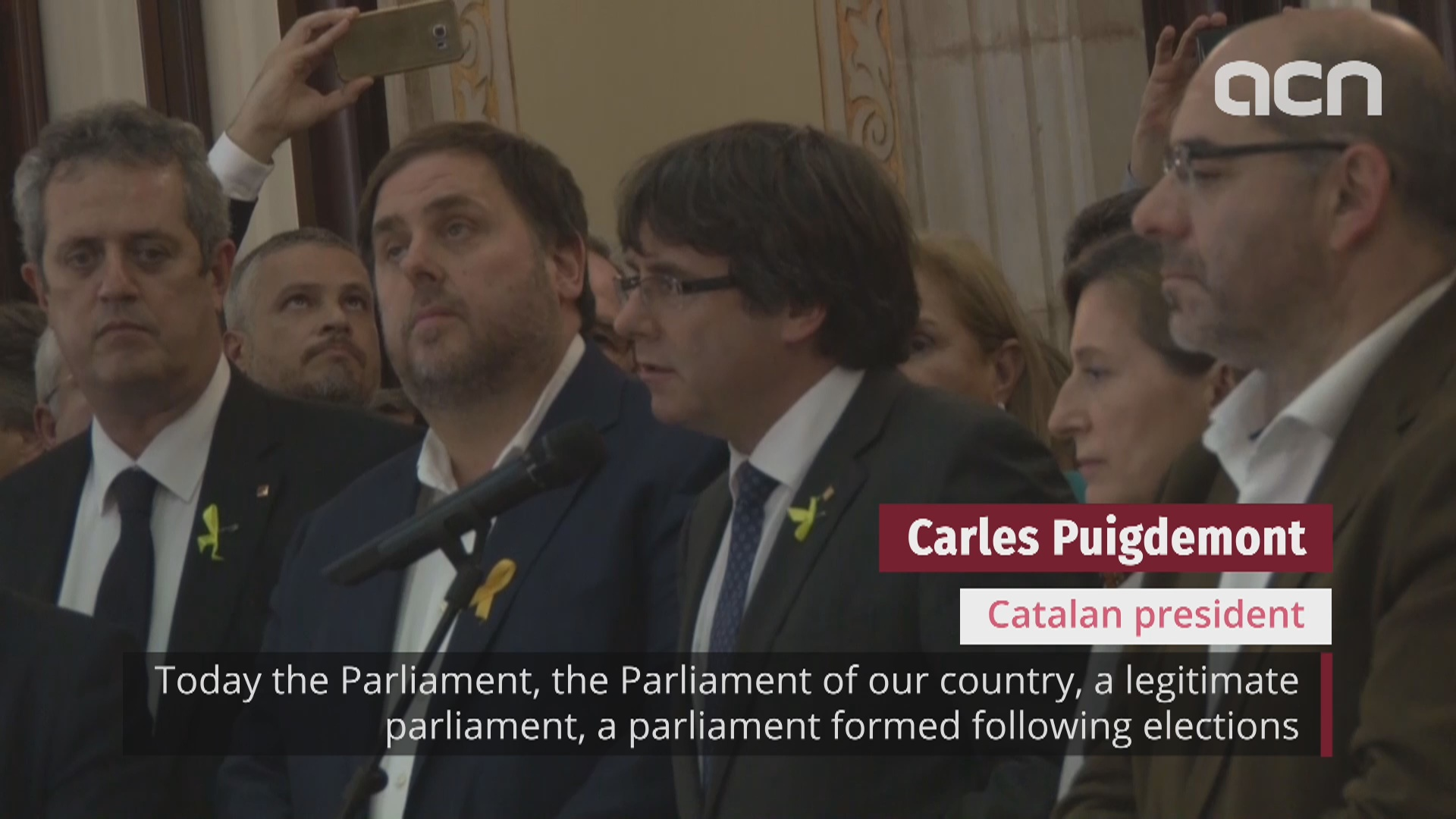 Catalan president speaks after independence declaration