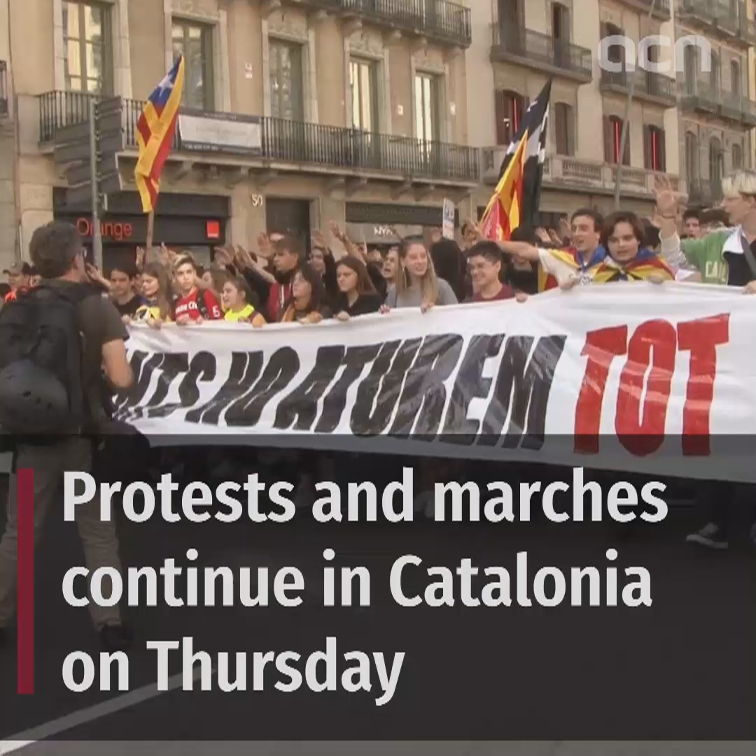 Marches and protests continue on Thursday across Catalonia