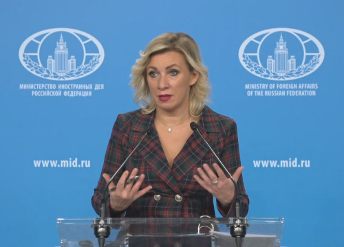 A spokesperson for the Russian Ministry of Foreign Affairs, Maria Zakharova (Screenshot from Ruptly video)
