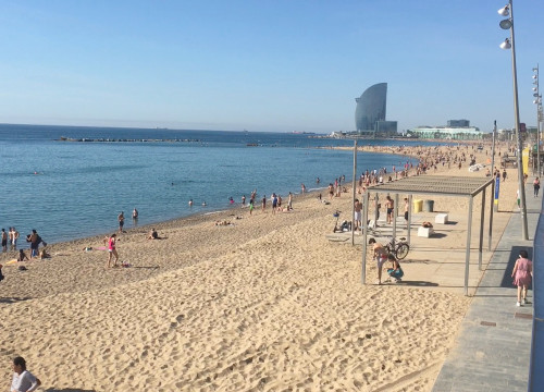 Barceloneta beach on the first weekend morning that people were allowed to go for strolls on the sand (by Cillian Shields)