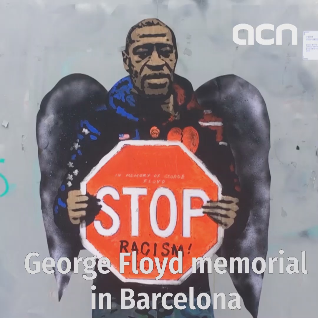 George Floyd, Black Lives Matter street art painting in Barcelona