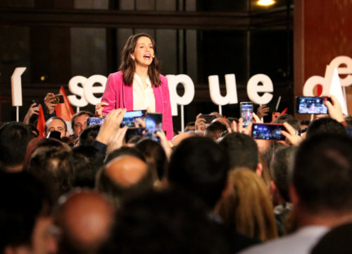 Inés Arrimadas speaking at a Ciutadans campaign event in Barcelona (by Guifré Jordan)