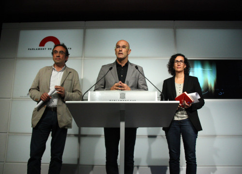 Josep Rull, Raül Romeva and Marta Rovira, from pro-independence cross-party list 'Junts Pel Sí'