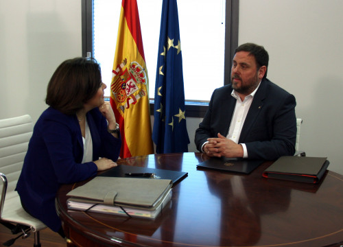 Catalan Vice President, Oriol Junqueras met this Thursday with his Spanish homolog, Soraya Sáenz de Santamaría (by ACN)