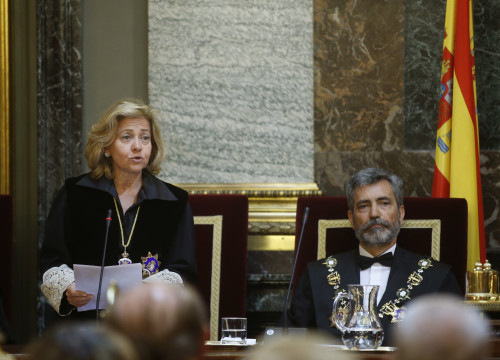 Spain's Public Prosecutor, Consuelo Madrigal and President of Spain's Judicial Power Council (CGPJ) Carlos Lesmes (by ACN)