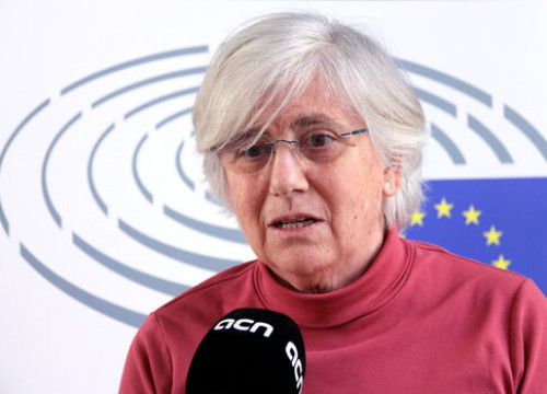 JxCat MEP Clara Ponsatí speaking to the Catalan News Agency on February 26, 2021 (by Nazaret Romero)