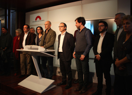 'Junts Pel Sí's members presented their proposal before the media (by ACN)