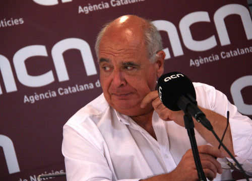 'Catalunya Sí que es Pot's candidate, Lluís Rabell, at a press conference at CNA