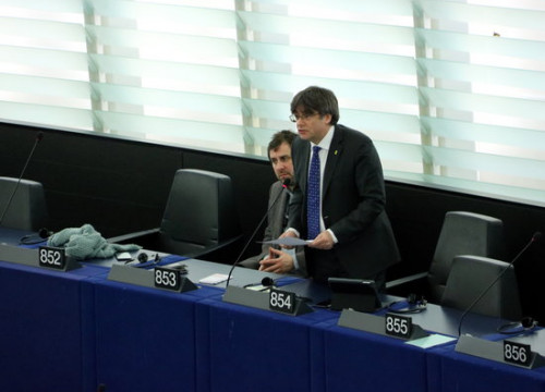MEP Carles Puigdemont giving a speech in the European Parliament in Strasbourg on January 14, 2020 (by Nazaret Romero)