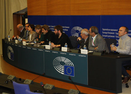 Catalan and Spanish MEPS from eight different parties' press conference in Strasbourg (by ACN)