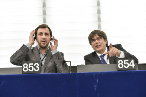 MEPs Carles Puigdemont and Toni Comín in Strasbourg on January 15, 2020 (European Parliament)