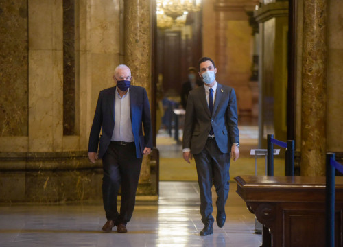 MP Ernest Maragall, left, and parliament speaker Roger Torrent (by Marc Puig/ERC)