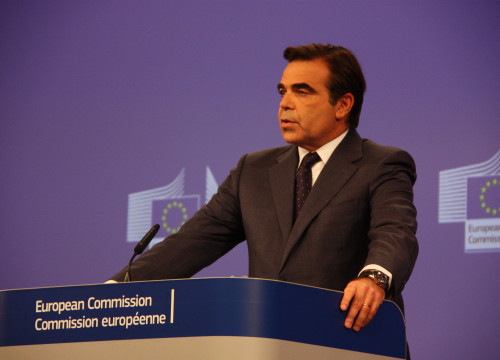 The EC spokesperson, Margaritis Schinas, at a press conference this morning (by ACN)