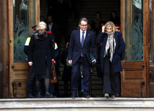 Former Catalan President, Artur Mas and former Catalan Ministers Joana Ortega and Irene Rigau leaving Barcelona's High Court (by ACN)