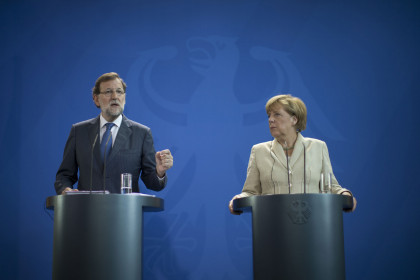 Spanish President Mariano Rajoy and German Chancellor Angela Merkel during their bilateral summit on Tuesday