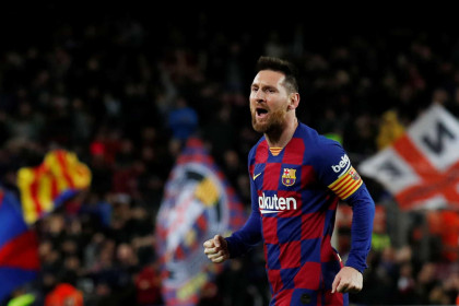 Leo Messi in happier times, celebrating scoring one of his three goals against Celta Vigo, November 9, 2019 (by REUTERS/Albert Gea)