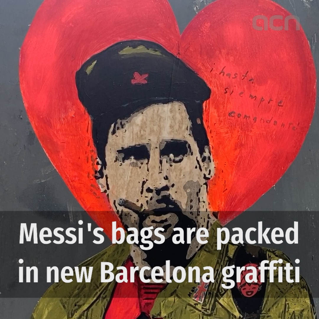 Messi's bags are packed in new Barcelona street art work