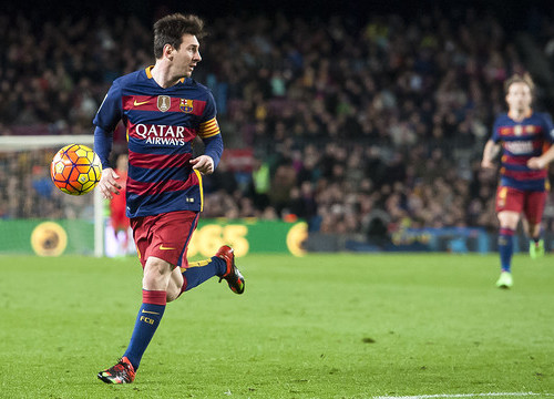 Leo Messi in action against Celta at the Camp Nou last weekend (by FCB)